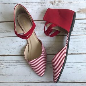 MAURICES 'Penny' Gladiator Open-Side Striped Flat
